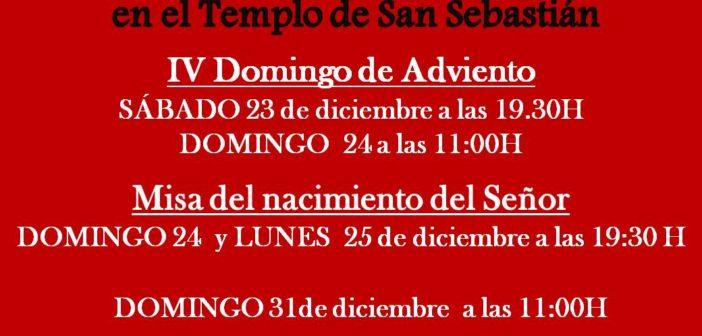 Horario de misas de Navidad en el Templo de San Sebastián