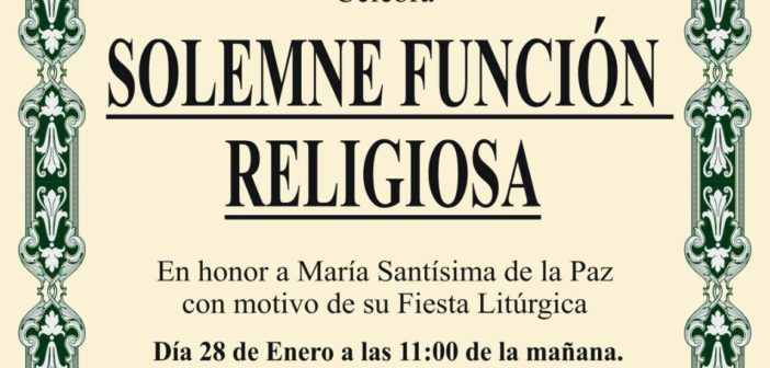 Solemne Función en honor de María Santísima de la Paz