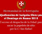 Adjudicación de Insignias libres para el Domingo de Ramos 2018