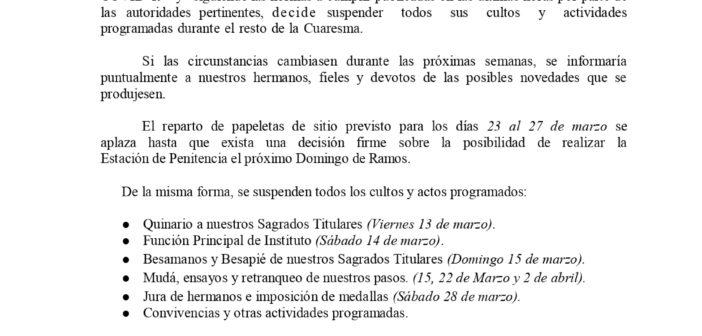COMUNICADO OFICIAL DE LA JUNTA DE GOBIERNO (COVID-19)