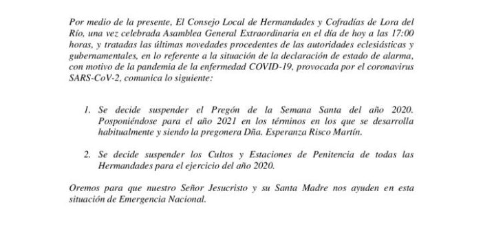 COMUNICADO OFICIAL CONSEJO HH.CC. LORA DEL RIO