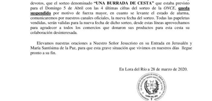 """COMUNICADO OFICIAL SORTEO """"UNA BURRADA DE CESTA"""""""