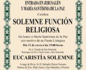 SOLEMNE FUNCIÓN RELIGIOSA EN HONOR A MARÍA SANTÍSIMA DE LA PAZ
