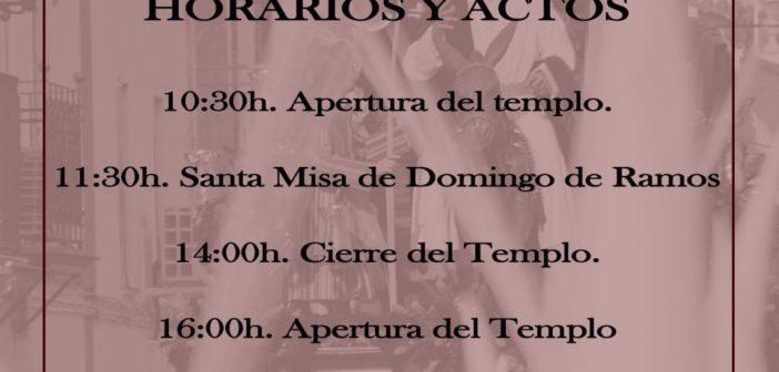 HORARIOS Y ACTOS DOMINGO DE RAMOS 2021