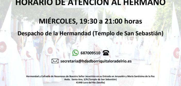 HORARIO DE ATENCIÓN AL HERMANO